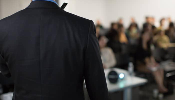 Salesperson giving a presentation